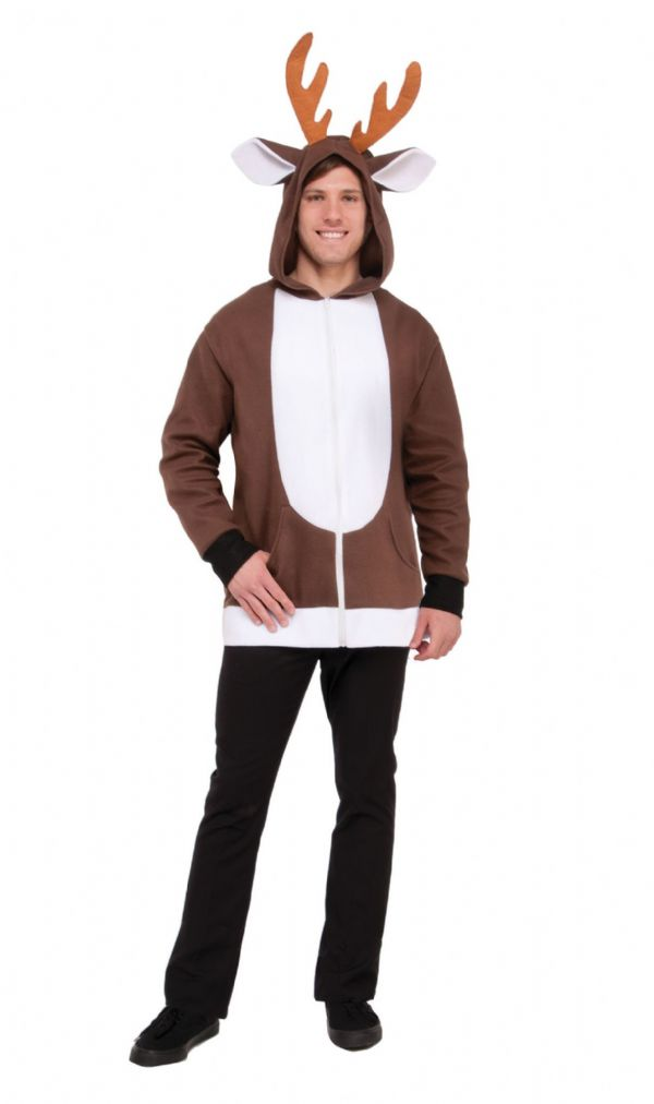Adults Reindeer Hoodie Costume Unisex Christmas Rudolph Fancy Dress Outfit